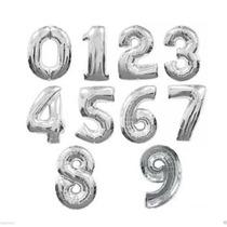 Balão Metalizado Número Numeros Prata Super Shape 86 Cm