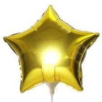 Balão Metalizado Estrela Dourado, Centro De Mesa - 10 Balões