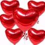 20 Balão Coração Vermelho 45cm Metalizado Bola Hélio Gas Sp