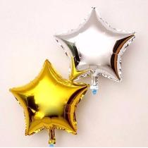 Balão Metalizado Estrela, Dourado, Prateada - Kit 10 Balões