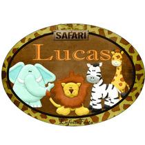 Placa Enfeite Parede Tema Safari Decoração Personalizado