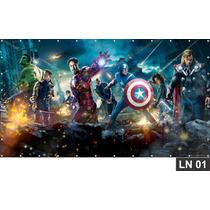 Vingadores Heroes Painel 3m² Lona Festa Banner Aniversários