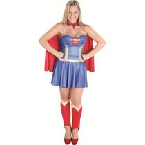 Fantasia Super Mulher Adulto De Luxo Completa C/ Capa