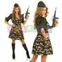 Fantasia Exército Forças Armadas Camuflada Soldado Feminina