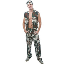 Fantasia Militar Masculino Adulto Completa C/ Bandana
