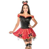 Fantasia Ratinha Minnie Feminina Adulto Completa C/ Orelhas