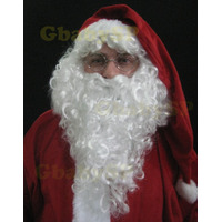 Kit Barba Com Bigode E Peruca Luxo - P/ Fantasia Papai Noel