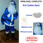 Roupa Fantasia De Papai Noel Azul - Barba E Peruca Luxo - U5