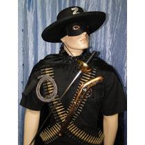 Zorro Chicote Mascara Chapeu Cinturão 192 Balas Espada Arma