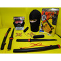 Kit Ninja Dragão Touca Mascara Fantasia Arma Espada
