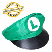 Quepe Chapéu Boina Super Mario Bros Luigi Cosplay Fantasia
