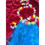 Fantasia Havaiana Saia Com 60 Cm Headband Colar Pulseiras