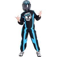 Fantasia Piloto Team Hot Wheels Infantil Azul Completo