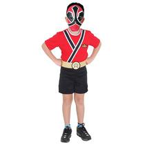 Fantasia Power Ranger Vermelho Infantil Samurai Completa Pop