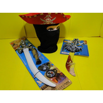 Pirata Infantil Jack Sparrow Mascara Chapeu Espada Luneta