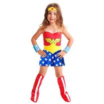 Fantasia Infantil Mulher Maravilha Heroina Completa