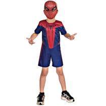 Fantasia Homem Aranha Infantil Curta Com Mascara