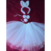 Fantasia Infantil Coelhinha Branca Tiara Gravata Rabo E Saia