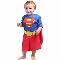 Fantasia Bebe Superman Heroi Macacao Super Homem Infantil