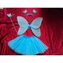 Fantasia Infantil Fada Azul Borboleta Pronta Entrega