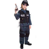 Kit Fantasia Policial Infantil De Luxo C/ Acessórios E Boné