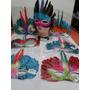 Kit 07 Mascaras Cocar Indigena Para Adultos E Crianças
