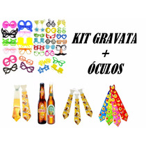 Kit C/ 12 Gravata + 12 Óculos - Casamento, Balada, Festa