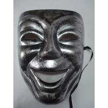 Mascara Teatro Prata Comedia Riso Carnaval Festa Vintage