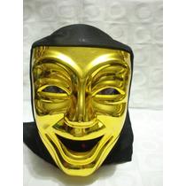 Mascara Teatro Dourada Riso Carnaval Haloween Festa Capuz