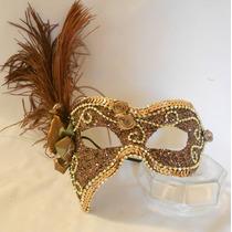 Mascara Sofi Luxo Gala Festa Bronze/dou Brocal Plumas