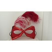 Máscara Vermelha Linda Com Pluma. Praticamente Nova!