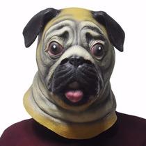 Máscara De Cachorro Pug Original Em Latex - Pronta Entrega