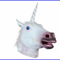 Máscara Fantasia Cabeça De Unicórnio Cavalo Branco Cosplay