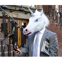 Máscara Cabeça De Unicórnio Cavalo Branco Cosplay Original