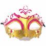 Máscara Glitter Rosa E Dourado Gala Luxo Baile Carnaval
