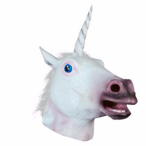 Máscara Cabeça Unicórnio Luxo Cavalo Branco Fantasia Cosplay