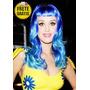 Peruca Adulto Katy Perry Azul Frete Gratis