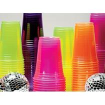 100 Copos Neon Balada 300ml Brilha No Escuro(luz Negra)