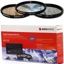 Kit 3 Filtros Agfa P/ Filmadora 37mm Uv Cpl Sony Polarizador
