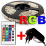 Kit Fita Led 5050 Rgb 5m+fonte+controle Remoto+controlador