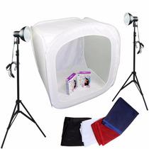 Kit Mini Estúdio Fotográfico 80cm Tripé Tenda Lampada 220v
