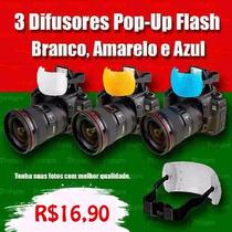 Difusor Flash Pop-up - 3 Cores P/ Canon ,nikon, Fuji