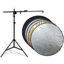 Kit Rebatedor Fotográfico Circular 5x1 110cm + Tripé Suporte
