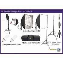 Kit De Iluminação Soft Box Estúdio Fotográfico 50x50 (220v)