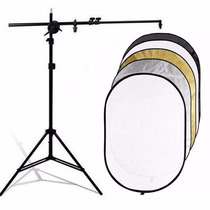 Kit Rebatedor Fotográfico Oval 5x1 180cm + Tripé E Suporte
