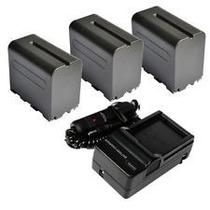 Kit 3 Baterias Np-f970 P/ Iluminador Hd 160 Led + Carregador