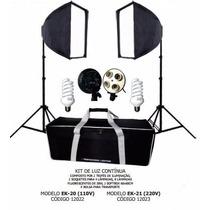 Kit Estúdio Luz Continua Tripé Soquete Lampadas Softbox 110v