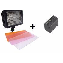 Iluminador 160 Leds + Np-f970 Para Filmadora Vídeo E Dslr