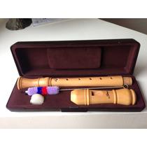 Flauta Doce De Madeira Maciça Profissional