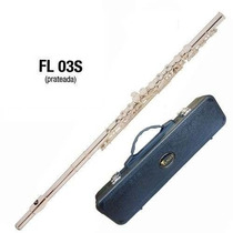 Flauta Eagle Fl-03s Prateada Transversal Em Dó + Case Luxo
